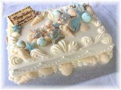 クッキーマリン Pretty Cakes, Beautiful Cakes, Luau, Wedding Sheet Cakes, Marine Cake, Buttercream Fondant, Seashell Wedding, Cake Accessories, Square Cakes