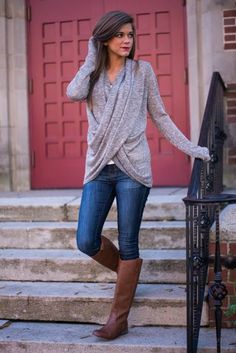 Fall fashion, grey sweater, denim jeans, high camel boots. Casual style ideas 2015.: