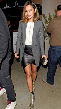 nice Jamie Chung in a black leather miniskirt, white top, long gray blazer and gold Aska booties - click ... Celebrity Style Check more at http://pinfashion.top/pin/66970/