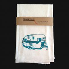 Happy Camper Flour Sack Tea Towel - screen printed towel.