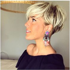 Brown Pixie with Blond Highlights