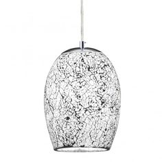 Searchlight 8069WH   Crackle 1 Light Polished Chrome Ceiling Pendant White Mosaic Shade