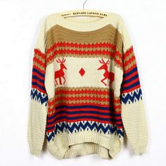 Cute Printed Deer Striped Sweater