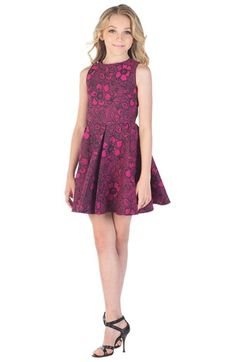 Miss Behave 'Alexis' Flower Print Fit & Flare Dress (Big Girls ...