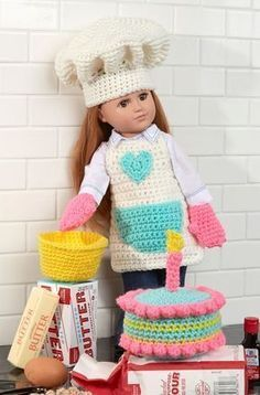 """Free Baking Chef Doll Crochet Pattern from www.RedHeart.com ~ easy skill ~ ~ fits 18"""" doll"""