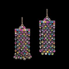 Stunning Multi-coloured gemstone and diamond earrings set in blackened 18k white gold from Azagury-Partridge's newest collection Chromance Earrings