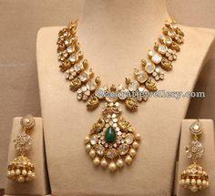 Large Stones Pachi Set and Jhumkas - Jewellery Designs