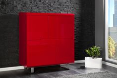 Design Highboard SPACY rot Hochglanz 4 Türen Schrank Kommode jetzt ...