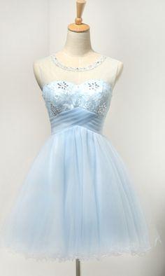 A-line/Princess Homecoming Dresses, Blue Homecoming Dresses, Short Homecoming Dresses, Short Blue Homecoming Dresses With Rhinestone Mini Round Sale Online, Short Blue Dresses, Homecoming Dresses Short, Blue Short Dresses