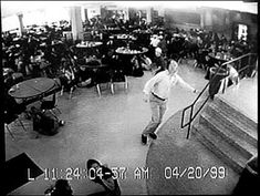 """April 20, 1999, Columbine High School cafeteria camera, teacher Dave Sanders  warns of """"shooters"""" in the building. 12 students & one teacher killed, 24 students & staff wounded by high school students"""