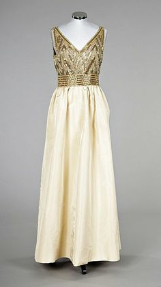 Pierre Balmain couture beaded gold faille evening gown, early 1960s