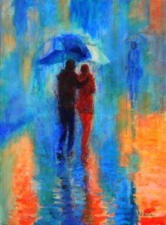 """Saatchi Art Artist Amalya  Nane Tumanian; Painting, """"Couples in the Rain"""" #art"""