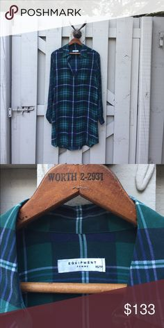 Selling this Silk plaid shirt - Made in France on Poshmark! My username is: jerilynst. #shopmycloset #poshmark #fashion #shopping #style #forsale #Equipment #Tops