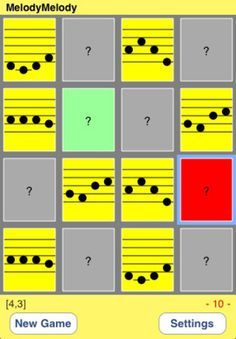 Tap on a tile to hear its melody. And then the tile turn light green. Next, search the same melody and tap on it, and then its melody plays. Remember where you heard a certain melody. If the melodies match, then the tiles turn yellow and show its musical score. If the melodies do not match, then the tile turn red, and add 1 to mistake counter.