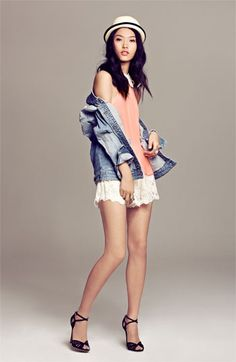 love the blouse, lace shorts, jean jacket, not the hat or shoes for this outfit!
