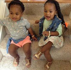 Fashionable twin girls