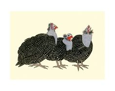 Guinea fowl bird art Geraldine Dita and Hedy by matouenpeluche