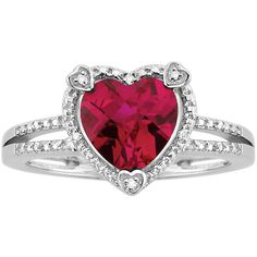 Created Ruby Heart and Diamond Fashion Ring in Sterling Silver ($78) ❤ liked on Polyvore featuring jewelry, rings, red, heart ring, diamond rings, sterling silver diamond rings, ruby ring and sterling silver band rings