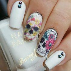 Skull flower nail art wraps only 🌍 Worldwide shipping 💅 Skull Nail Designs, Skull Nail Art, Fingernail Designs, Best Nail Art Designs, Halloween Nail Designs, Short Nail Designs, Toe Nail Designs, Beautiful Nail Designs, Halloween Nails