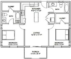 Guest House Plans, Small House Floor Plans, Cabin Floor Plans, Small House Plans Under 1000 Sq Ft, The Plan, How To Plan, 1000 Sq Ft House, 2 Bedroom Floor Plans, 2 Bedroom Apartment Floor Plan