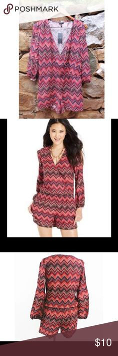NWOT Jessica Simpson Red Chevron Romper Never worn, new without tags! Jessica Simpson brand red chevron print Romper. Unique colder shoulder detail (see last picture) on sleeves. Size medium. Super comfy!!! Jessica Simpson Dresses Mini