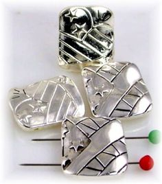 4 Art Deco Style 2 Hole Slider Beads by MobileBoutiqueshop on Etsy