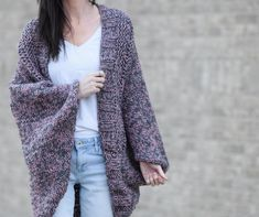 Some of you may have seen that Lion Brand recently created a full crochet kit for this Cascading Kimono Cardigan Crochet Pattern and I'm happy to now Knit Cardigan Pattern, Cocoon Cardigan, Marled Sweater, Sweater Knitting Patterns, Crochet Patterns, Oversized Cardigan, Crochet Cardigan, Shrug Sweater, Motif Kimono