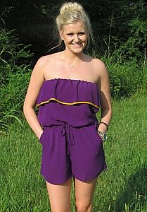 Perfect romper for game day. #LSU #tailgate #purple #gameday #romper Shop Yipsy.net Halftime Romper