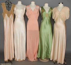 Five Negligees, 1930-1940, via Augusta Auctions.