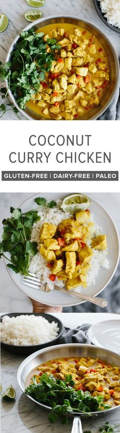 (gluten-free, dairy-free, paleo) This coconut curry chicken is a healthy weeknight dinner that's packed with flavor. The chicken simmers in curry spice and coconut milk for an easy, one-pan meal.