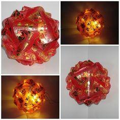 Design Kugel im Weihnachtslook mit LED Lichterk. von A -Z Bastelshop auf DaWanda.com
