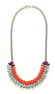 Neon Orange and Neon Purple Hand-painted Crystal Necklace