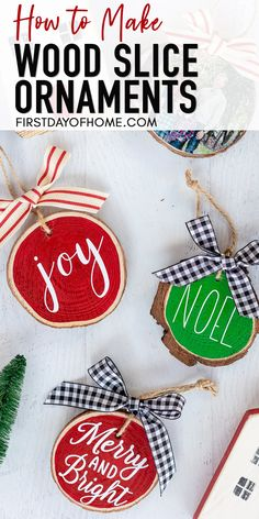 Learn how to make beautiful farmhouse wood slice ornaments two different ways, including photo image transfer and vinyl lettering with Cricut and Cameo. These DIY Christmas ornaments make the perfect stocking stuffer or teacher gifts for Christmas. #woodslicecrafts #christmasornaments #diychristmasdecorations #diydecor #farmhouse #firstdayofhome Homemade Christmas Presents, Homemade Christmas Decorations, Diy Holiday Gifts, Christmas Crafts For Gifts, Diy Christmas Ornaments, How To Make Ornaments, Christmas Projects, Simple Christmas, Holiday Ideas