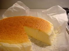 Japanese Cheesecake, lighter version than a traditional cheesecake.