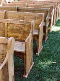 Mary + Mark: Published in Brides & on EAD! church pews, outdoor ceremony, photo by Carrie Patterson, at Bearflagfarm.com