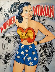 """Wonder Woman"" newspaper comic strip brochure cover art, artist unknown 1944"