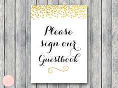 WD47c-Gold Guestbook Sign, Sign our Guestbook