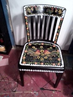 Rooster Chair I hand painted and put in my kitchen