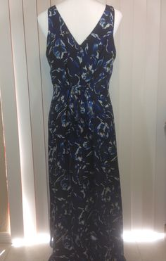 Vintage Long Black Ann Taylor Silk Dress with Navy Blue Flowers, Fully Lined with Back Tie, Maxi Sundress, Ladies Size 12 by Oldtonewjewels on Etsy