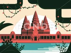 Stock illustration: Angkor Wat Khmer temple in Siem Reap. Unesco protected world wonder, in the beautiful hot season of Southeast Asian..  3.8 MB. -1 x -1. From $5. Royalty free vector, graphic, ... Cambodian Art, Siem Reap, Angkor Wat, Image House, Photo Illustration, View Image, Southeast Asia, Temple, Vector Free