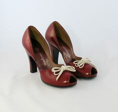 Vintage 1940s Cherry Red Peep Toe Shoes. $140.00, via Etsy.