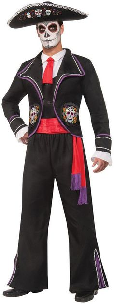 A fantastic costume that will liven up any Day of the Dead Celebration! White shirt front with attached red tie and black vest is topped by a black jacket with purple and white trim with attached ruff
