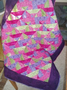 Pink and Purple quilt Green quilt Bright by CottageBabyQuilts, $75.00