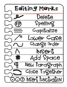 Editing marks for students writing folders Writing Lessons, Writing Resources, Teaching Writing, Writing Skills, Writing Activities, Teaching English, Teaching Tools, Writing Tips, Writing Prompts