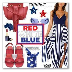 Street Style Red, White & Blue by Yoins by jecakns on Polyvore featuring polyvore fashion style Salvatore Ferragamo Bobbi Brown Cosmetics Estée Lauder POPTIMISM! clothing