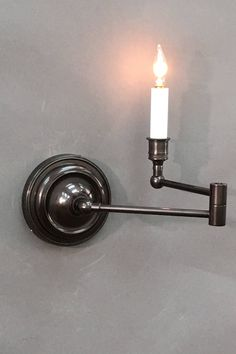 Swing Arm Round SA-251-04 Antique  Dimensions 9.25 H x 8.50 W x 16.00 D  Options Available * French Bronze, Nickel, Matte Silver & Antique * Single Arm Swing Arm Wall Light, Dimensions, Sconces, Wall Lights, Bronze, Lighting, Home Decor, Chandeliers, Appliques
