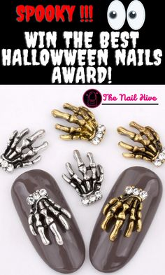 Spooky hands Halloween Nail Design, nail rhinestone for nail art. This Halloween nail rhinestone will help boost your spooky halloween costume. #Halloween #nail #halloweennnails #nailart