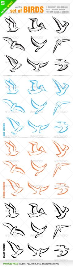 Set of birds  #GraphicRiver         vector set of 9 different birds.  	 Ai, eps, psd, transparent png and jpeg files for each design are included in the zip file.  	 You can see other bird design from my portfolio..  	 Please, dont forget to rate my vectors! Thank you    ANIMAL / WILDLIFE