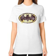 Batman Brick Splatter Logo Unisex T-Shirt (on woman)