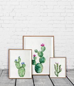 Set of 3 watercolor cactus print Cactus art print Gallery